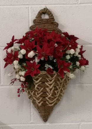 "Red & White poinsettia 18"" X 12"" Wall Mounted Basket"